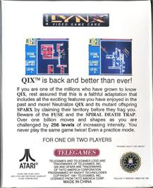 Box back cover for QIX on the Atari Lynx.