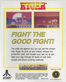 Box back cover for Rygar on the Atari Lynx.