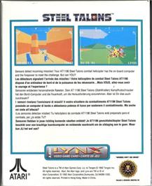 Box back cover for Steel Talons on the Atari Lynx.