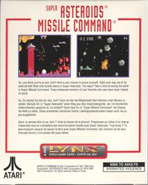 Box back cover for Super Asteroids and Missile Command on the Atari Lynx.