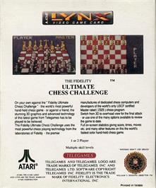 Box back cover for The Fidelity Ultimate Chess Challenge on the Atari Lynx.