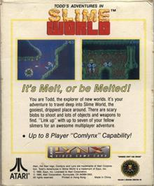 Box back cover for Todd's Adventures in Slime World on the Atari Lynx.
