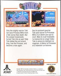 Box back cover for Toki: Going Ape Spit on the Atari Lynx.
