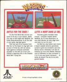 Box back cover for Warbirds on the Atari Lynx.