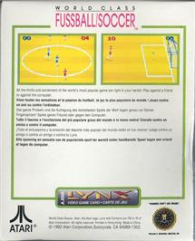 Box back cover for World Class Soccer on the Atari Lynx.