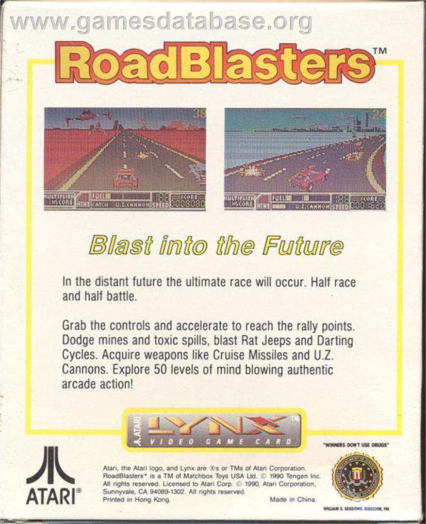 Box back cover for RoadBlasters on the Atari Lynx.
