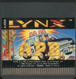 Cartridge artwork for APB: All Points Bulletin on the Atari Lynx.