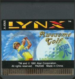 Cartridge artwork for Awesome Golf on the Atari Lynx.