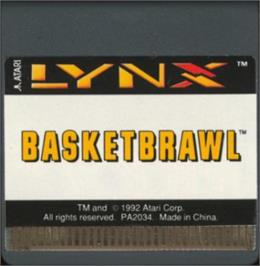 Cartridge artwork for Basketbrawl on the Atari Lynx.