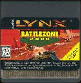 Cartridge artwork for Battlezone 2000 on the Atari Lynx.