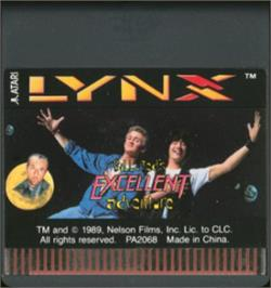 Cartridge artwork for Bill & Ted's Excellent Adventure on the Atari Lynx.