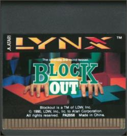 Cartridge artwork for Blockout on the Atari Lynx.