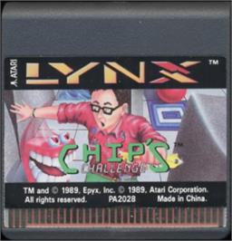 Cartridge artwork for Chip's Challenge on the Atari Lynx.