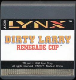 Cartridge artwork for Dirty Larry: Renegade Cop on the Atari Lynx.