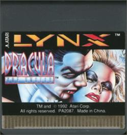 Cartridge artwork for Dracula the Undead on the Atari Lynx.