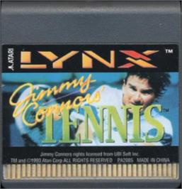 Cartridge artwork for Jimmy Connors Pro Tennis Tour on the Atari Lynx.