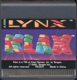 Cartridge artwork for Klax on the Atari Lynx.