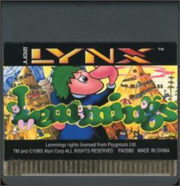 Cartridge artwork for Lemmings on the Atari Lynx.