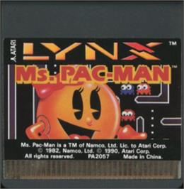 Cartridge artwork for Ms. Pac-Man on the Atari Lynx.