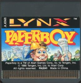 Cartridge artwork for Paperboy on the Atari Lynx.
