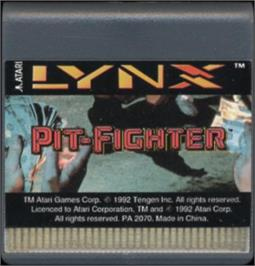 Cartridge artwork for Pit-Fighter on the Atari Lynx.