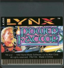 Cartridge artwork for Power Factor on the Atari Lynx.