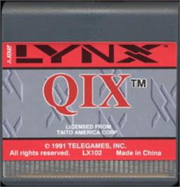 Cartridge artwork for QIX on the Atari Lynx.