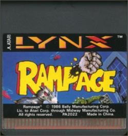 Cartridge artwork for Rampage on the Atari Lynx.