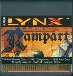 Cartridge artwork for Rampart on the Atari Lynx.