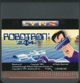 Cartridge artwork for Robotron: 2084 on the Atari Lynx.