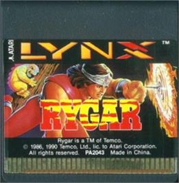 Cartridge artwork for Rygar on the Atari Lynx.