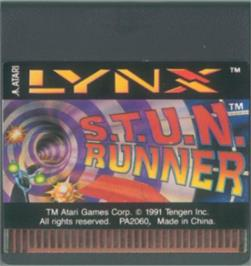 Cartridge artwork for S.T.U.N. Runner on the Atari Lynx.