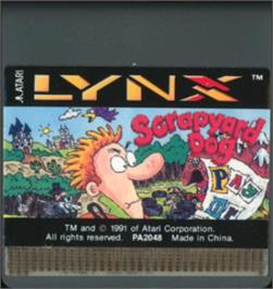 Cartridge artwork for Scrapyard Dog on the Atari Lynx.