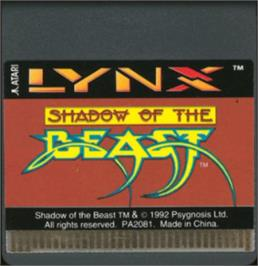 Cartridge artwork for Shadow of the Beast on the Atari Lynx.