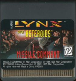 Cartridge artwork for Super Asteroids and Missile Command on the Atari Lynx.
