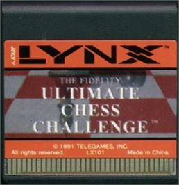 Cartridge artwork for The Fidelity Ultimate Chess Challenge on the Atari Lynx.