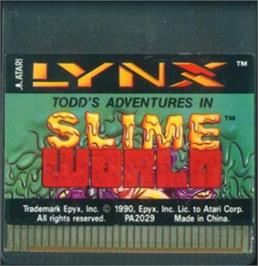 Cartridge artwork for Todd's Adventures in Slime World on the Atari Lynx.
