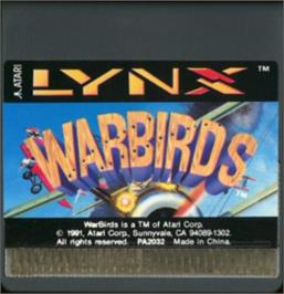 Cartridge artwork for Warbirds on the Atari Lynx.