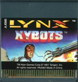 Cartridge artwork for Xybots on the Atari Lynx.