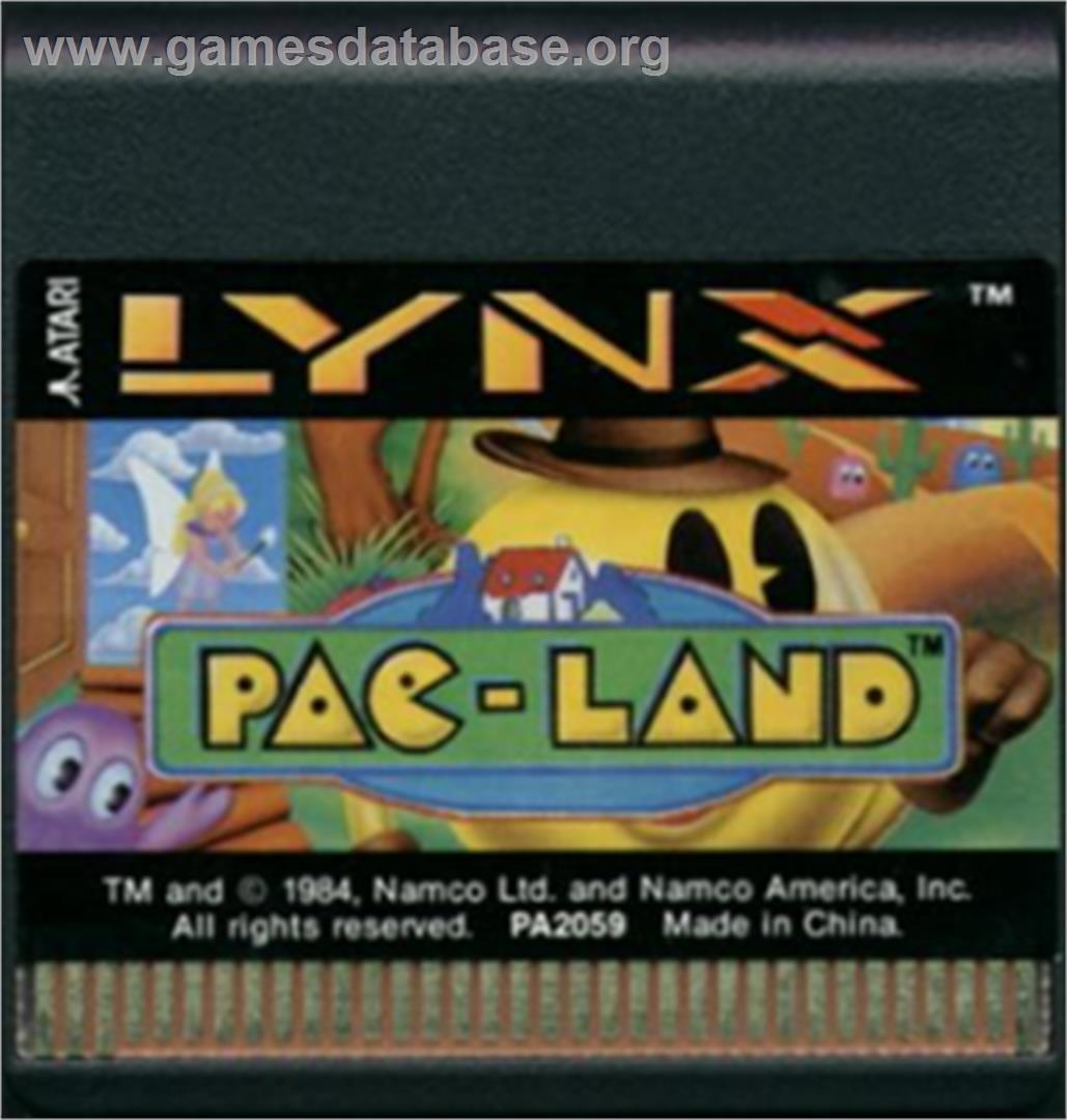 Cartridge artwork for Pac-Land on the Atari Lynx.