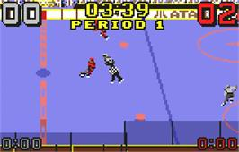 In game image of Hockey on the Atari Lynx.