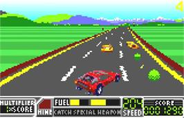In game image of RoadBlasters on the Atari Lynx.