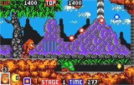 In game image of Toki: Going Ape Spit on the Atari Lynx.