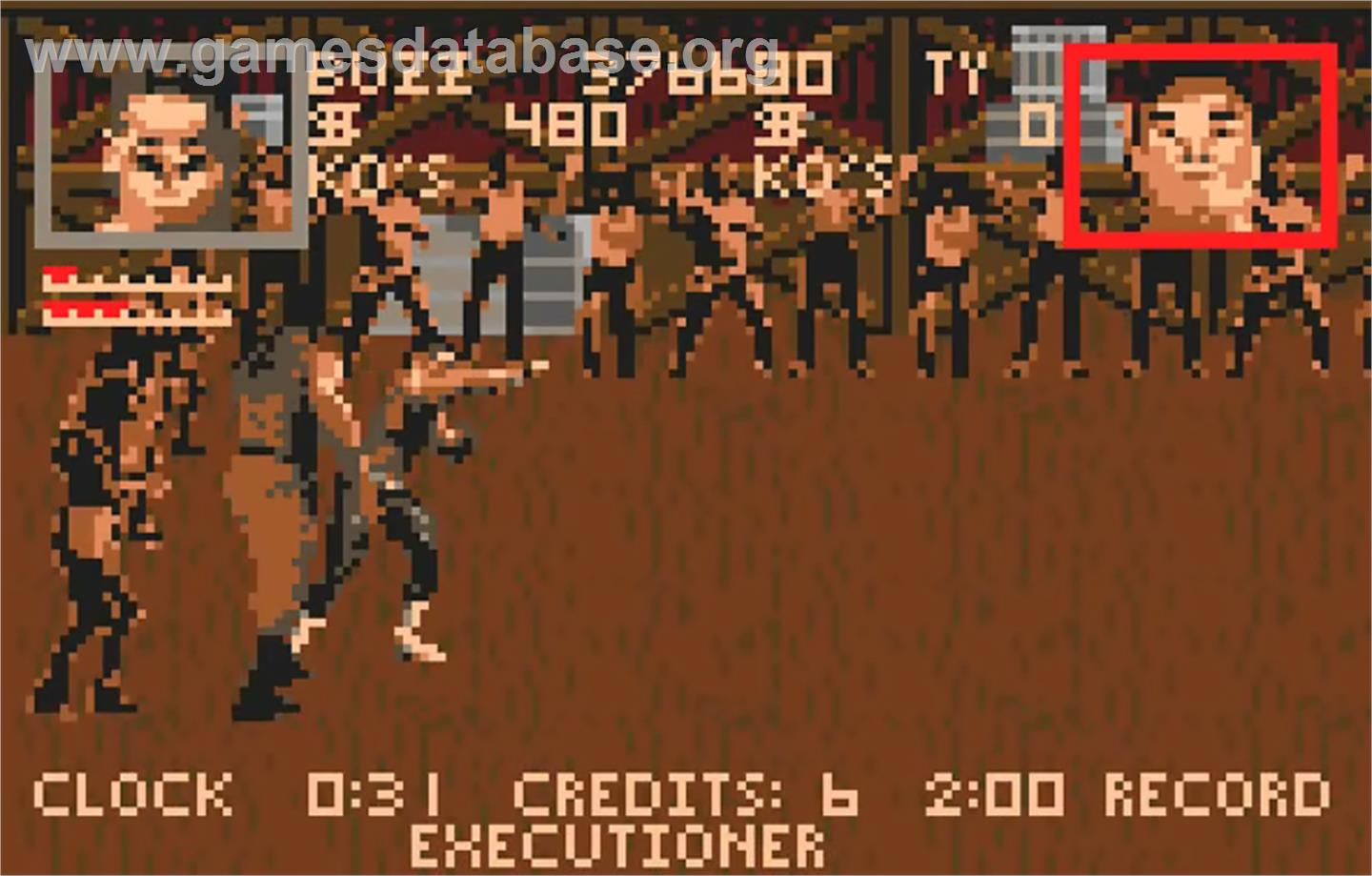 In game image of Pit-Fighter on the Atari Lynx.