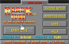 Title screen of Blockout on the Atari Lynx.
