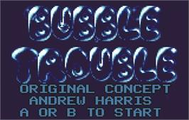 Title screen of Bubble Trouble on the Atari Lynx.