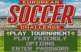 Title screen of European Soccer Challenge on the Atari Lynx.