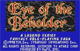 Title screen of Eye of the Beholder on the Atari Lynx.