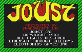 Title screen of Joust on the Atari Lynx.