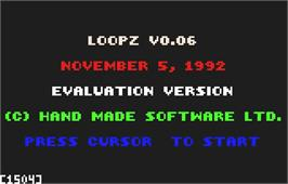 Title screen of Loopz on the Atari Lynx.
